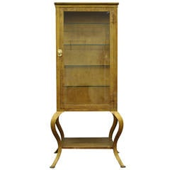 Early 1900's Painted Metal Steel & Beveled Glass Medical or Bathroom Cabinet