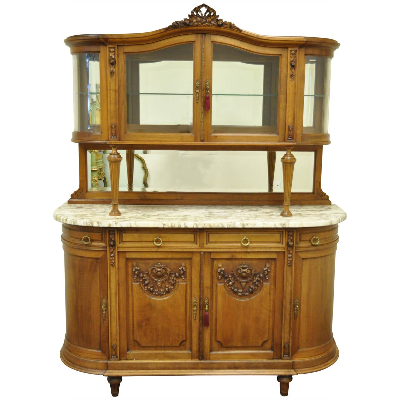 French Louis XVI Style Marble-Top Sideboard or Curio Cabinet ...