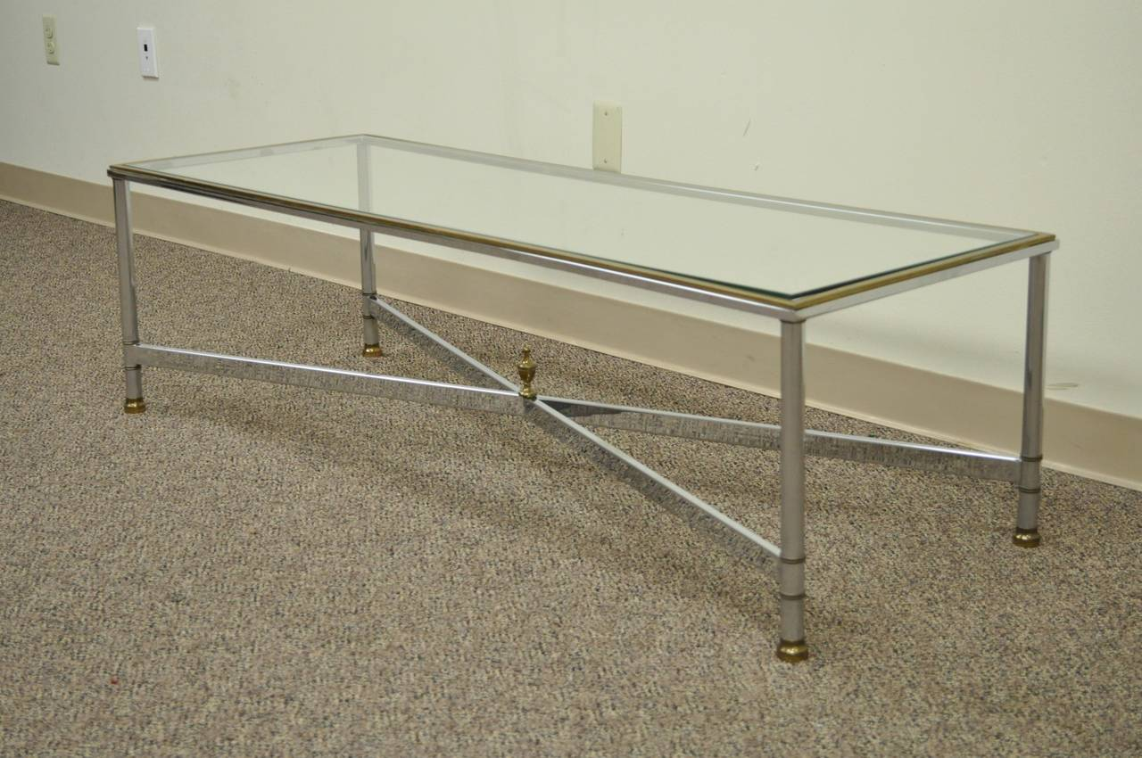 Neoclassical Style Chrome, Brass, & Glass Coffee Table after Maison Jansen For Sale 5