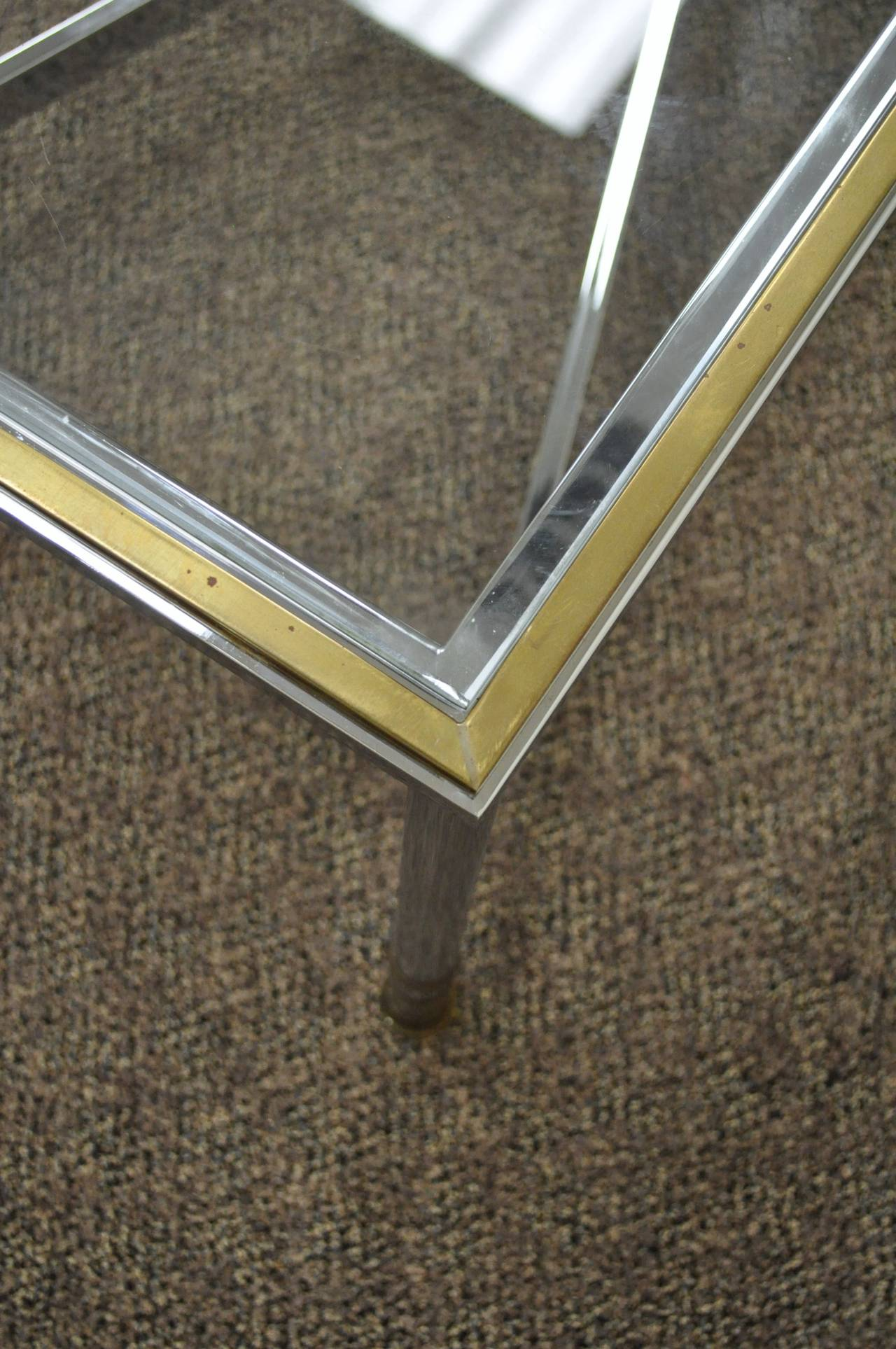 20th Century Neoclassical Style Chrome, Brass, & Glass Coffee Table after Maison Jansen For Sale
