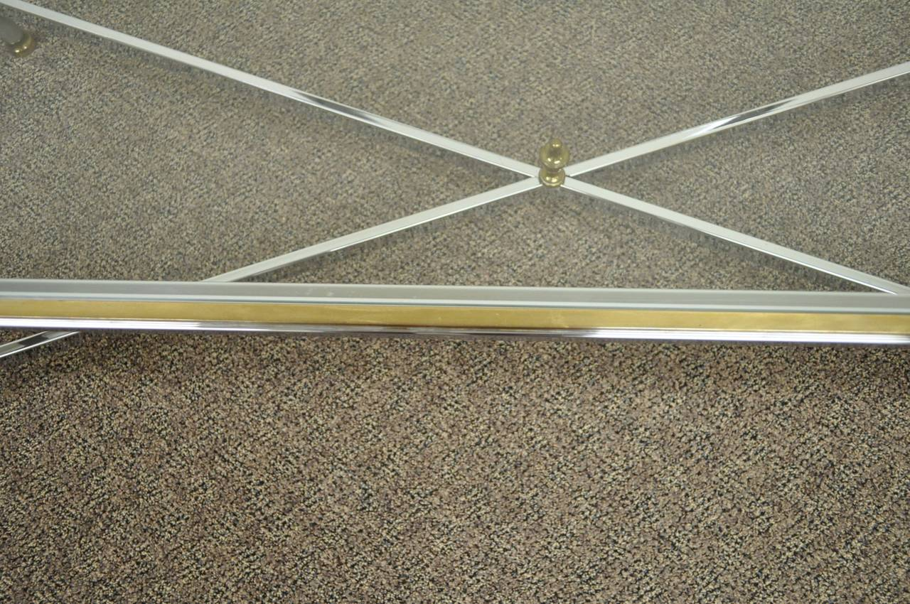 Neoclassical Style Chrome, Brass, & Glass Coffee Table after Maison Jansen For Sale 2