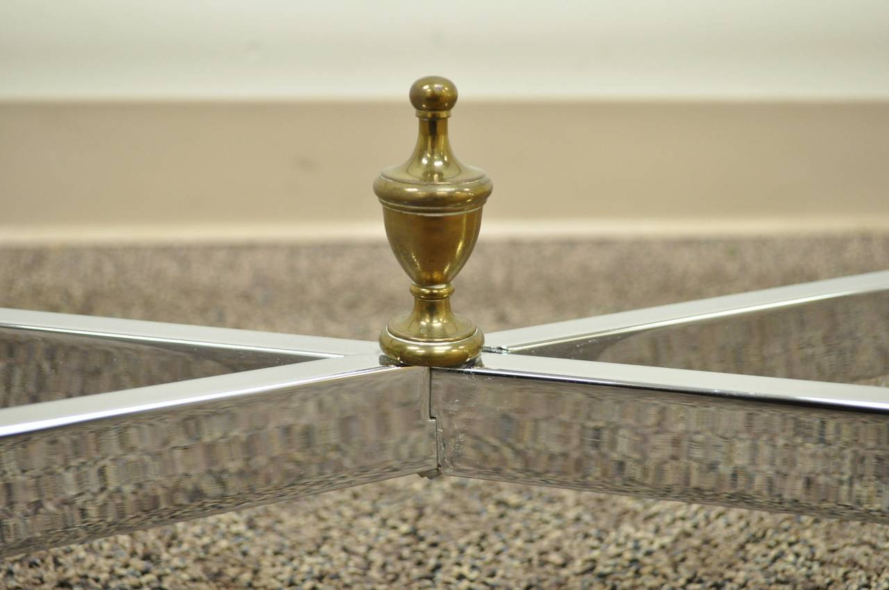 Neoclassical Style Chrome, Brass, & Glass Coffee Table after Maison Jansen For Sale 4