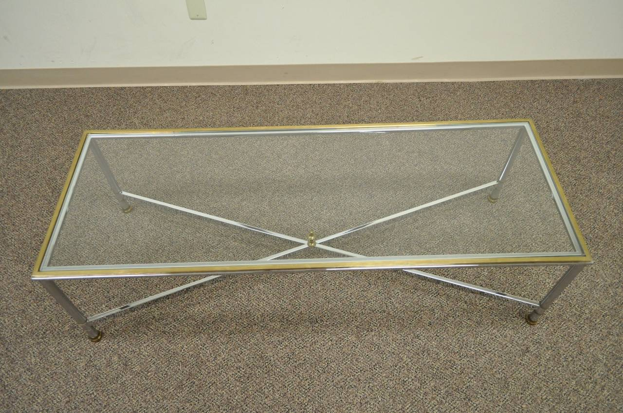 Italian Neoclassical Style Chrome, Brass, & Glass Coffee Table after Maison Jansen For Sale