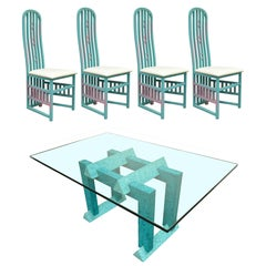 Vintage 1987 Memphis Style Blue and Pink Painted Dining Room Set Table 4 Chairs