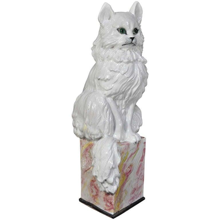 """Stately Italian Terra """"Cat"""" Ta Garden Sculpture - Terra Cotta Glazed Statue"""