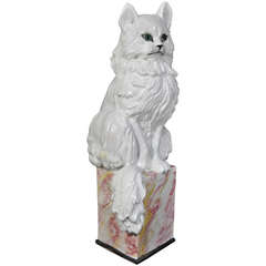 "Stately Italian Terra ""Cat"" Ta Garden Sculpture - Terra Cotta Glazed Statue"
