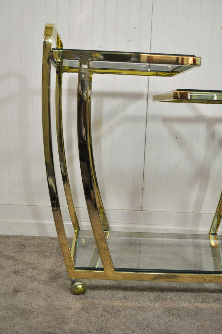 Vintage Hollywood Regency Brass And Glass Modernist