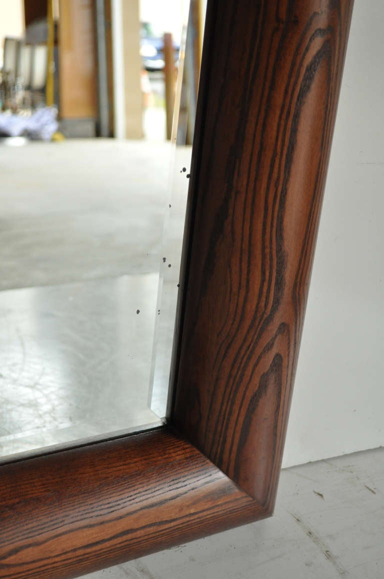 Large Oak and Bronze Band Beveled Glass Modern Sofa Wall Mirror by Henredon In Good Condition For Sale In Philadelphia, PA