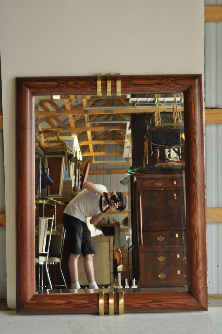 Large Vintage Oak And Triple Bronze Band Beveled Glass