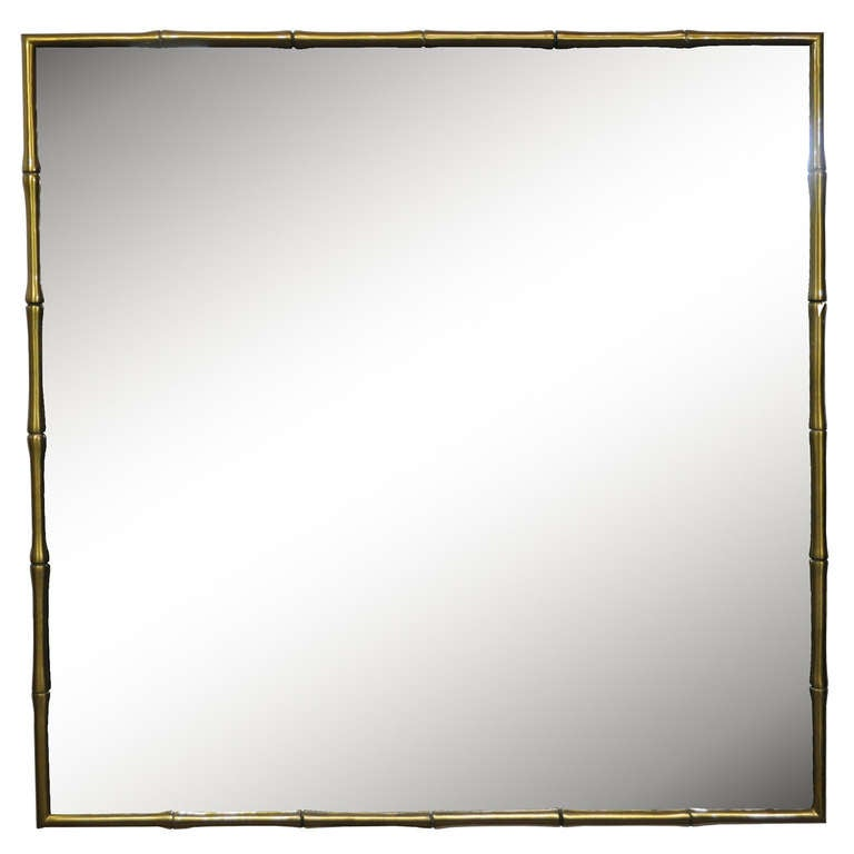 Bronze Hollywood Regency Faux Bamboo or Faux Bois Mirror Attributed to Maison Bagues
