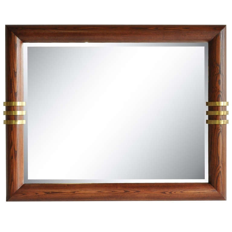 Large Vintage Oak and Triple-Bronze Band Beveled Glass Wall Mirror ...