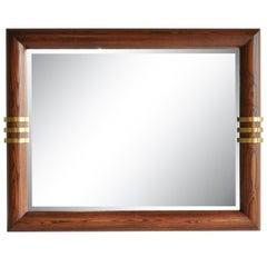 Large Oak and Bronze Band Beveled Glass Modern Sofa Wall Mirror by Henredon