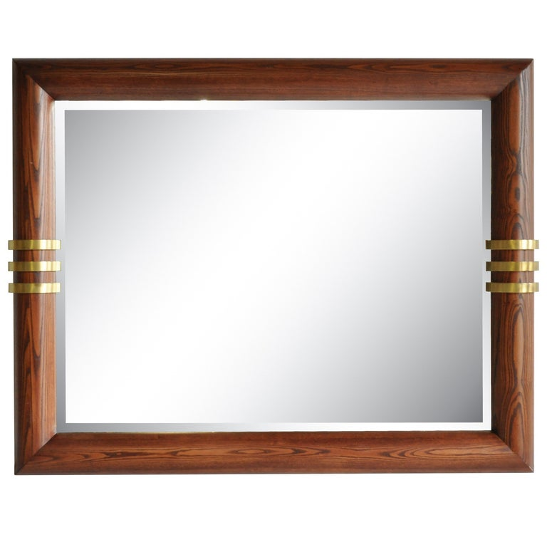 Large Oak and Bronze Band Beveled Glass Modern Sofa Wall Mirror by Henredon For Sale