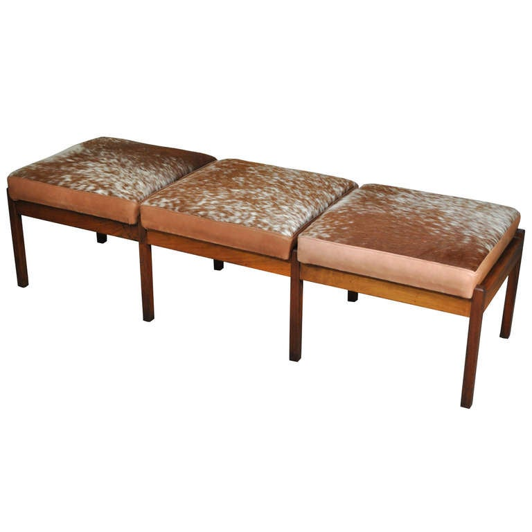 Three Seat Mid Century Danish Modern Teak Wood Long Bench Hair On Hide Leather For Sale At 1stdibs