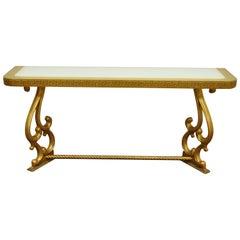 "Vintage Hollywood Regency Gold Leaf Greek Key 66"" Long Glass Top Console Table"