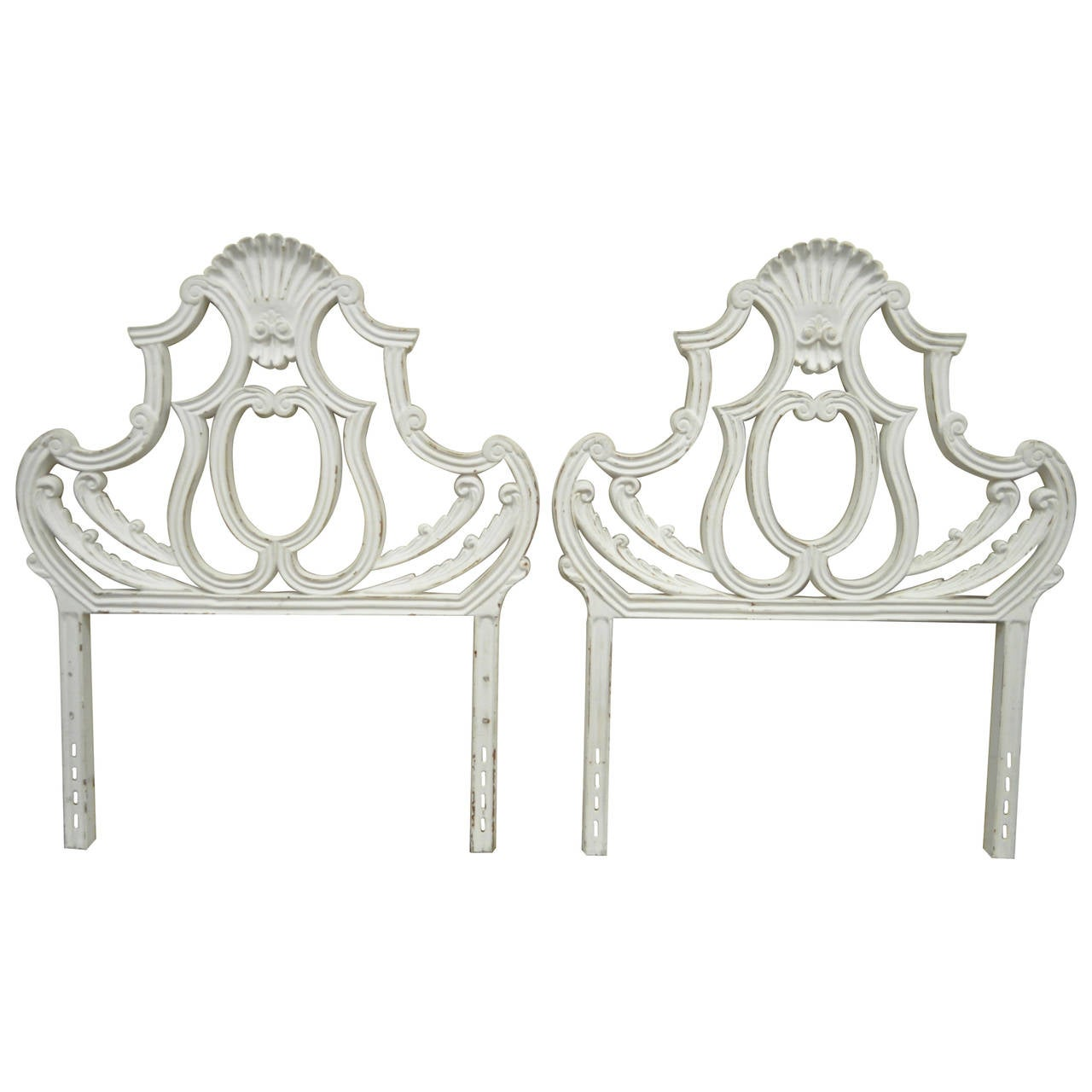 Pair of Vintage Shell Form Cast Aluminum French Rococo Style Single Headboards
