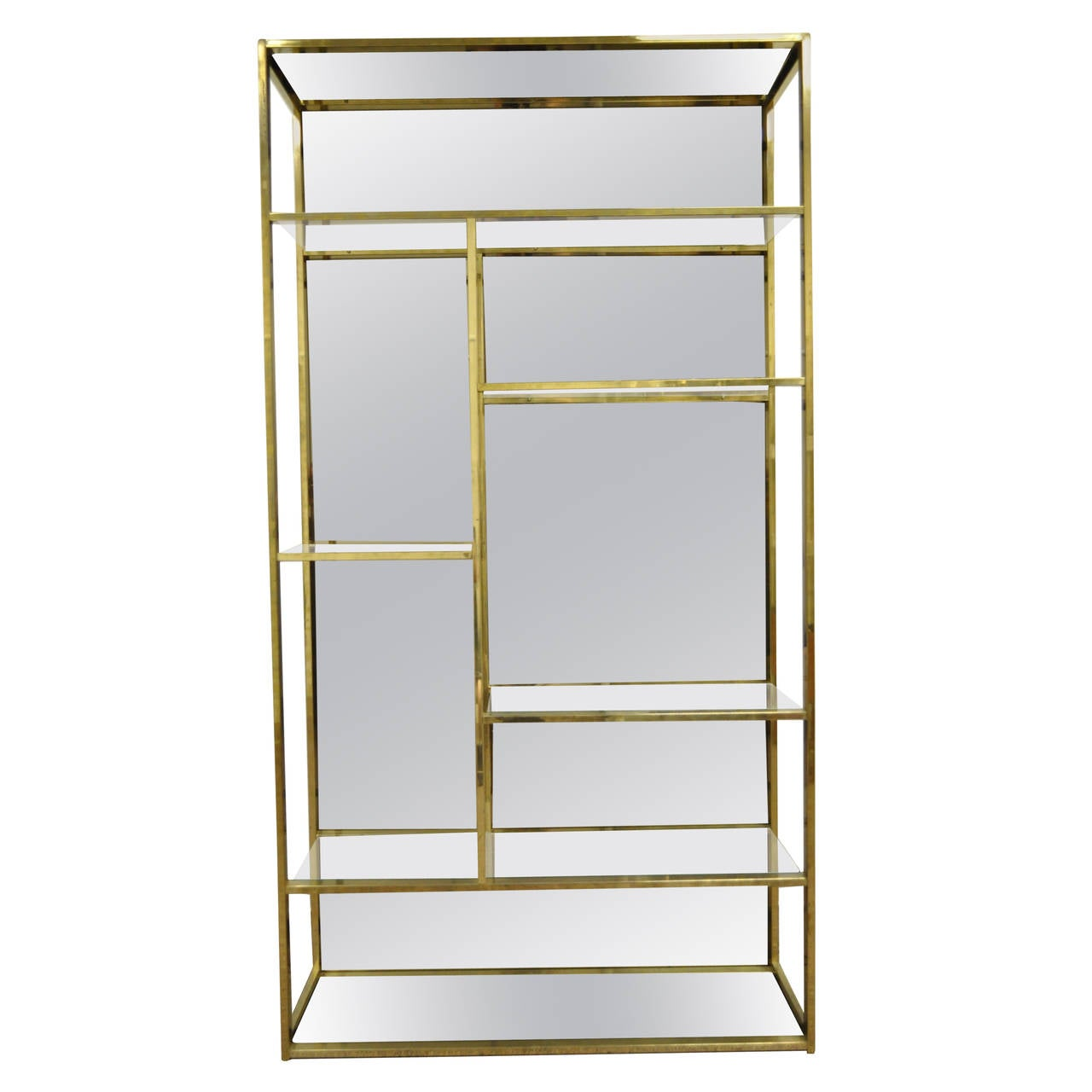 Burnished Brass Plated Etagere With Amber Mirror Attributed To  # Etagere Vintage Plexiglas