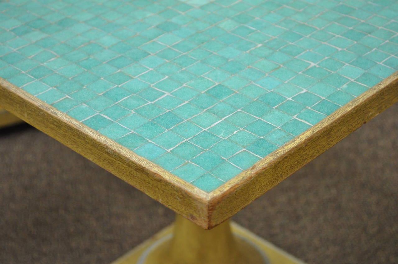Pair Of Vintage Italian Carved Wood Mosaic Tile Top