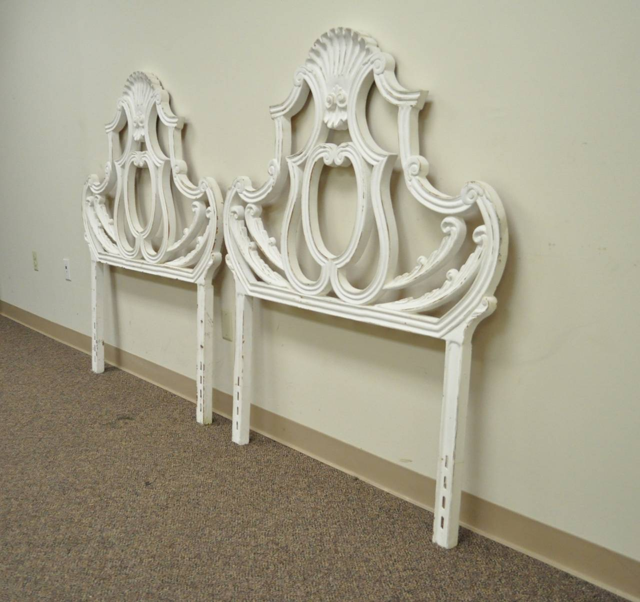 Pair of Vintage Shell Form Cast Aluminum French Rococo