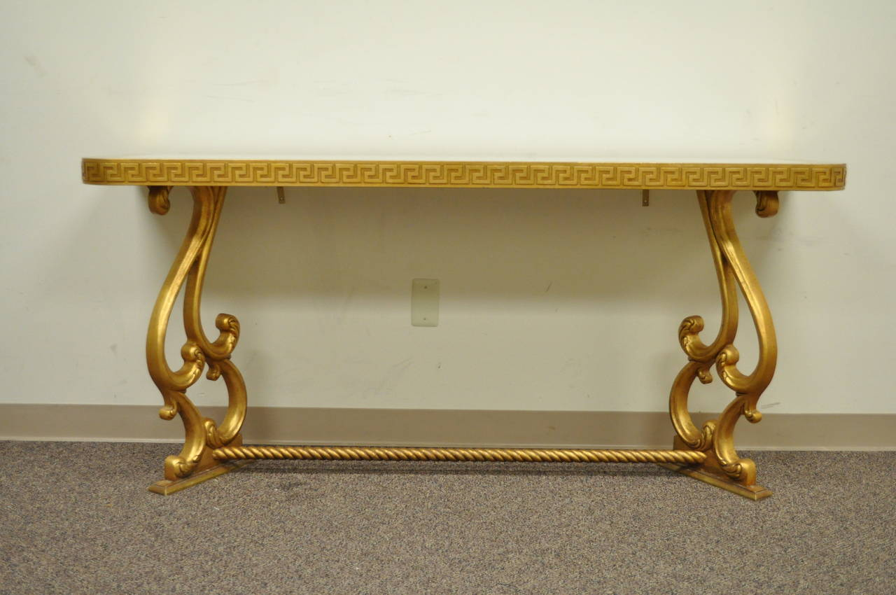 Hollywood Regency Gold Leaf Greek Key Console Table In The Neoclassical  Taste For Sale 3