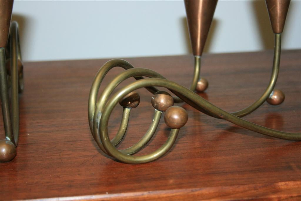Mid-Century Modern Pair of 1960s Modern Brass & Copper Sculptural Candleholders after George Nelson For Sale
