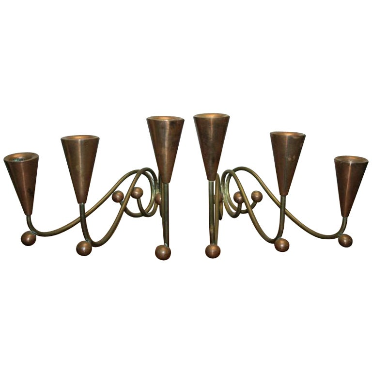 Pair of 1960s Modern Brass & Copper Sculptural Candleholders after George Nelson For Sale