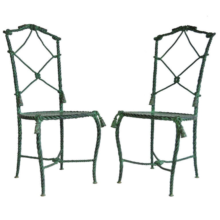 Pair of Italian Hollywood Regency Rope and Tassel Green Patinated Iron Side Chairs
