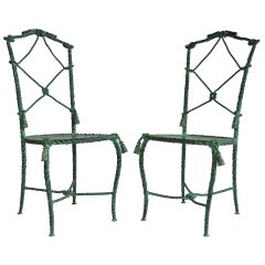Pair Italian Hollywood Regency Rope and Tassel Green Patinated Iron Side Chairs