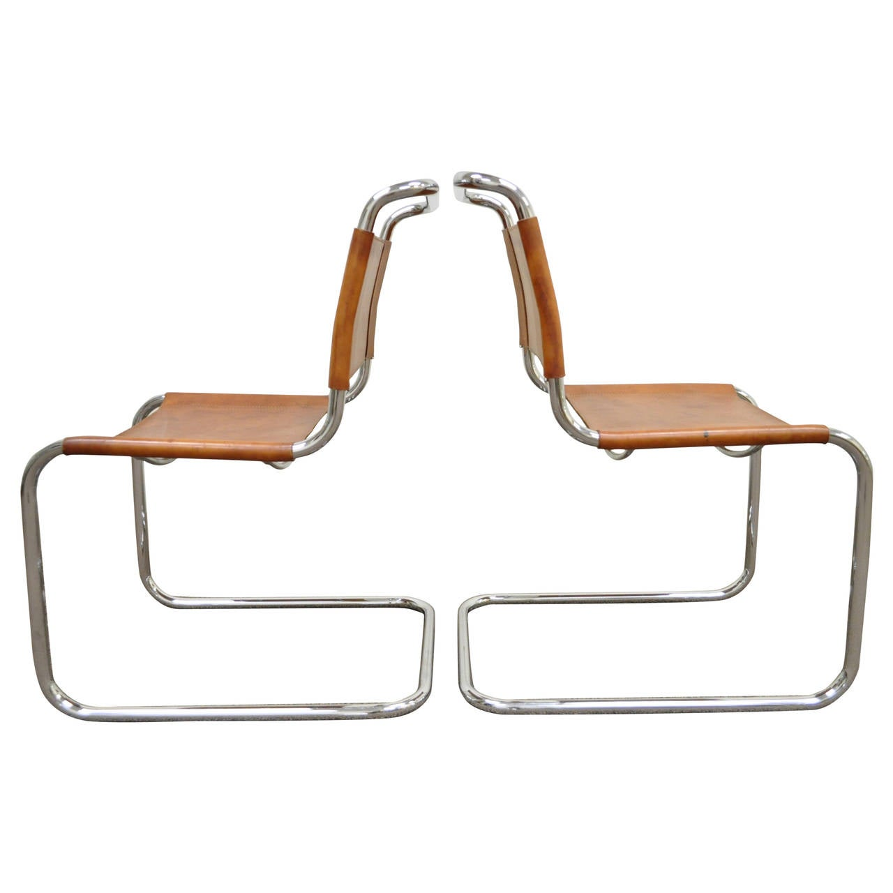 Pair of Mr Brown Leather and Chrome Chairs Attributed to Mies van der Rohe