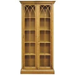 Antiqued and Distress Finished Italian Bookcase in the Mission or Gothic Style