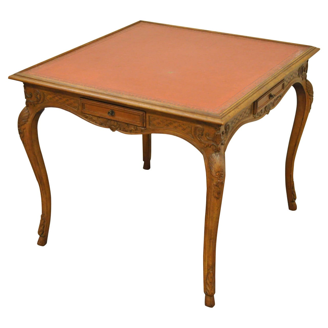 Italian Leather Top Hand-Carved Game Table in the French Louis XV Taste