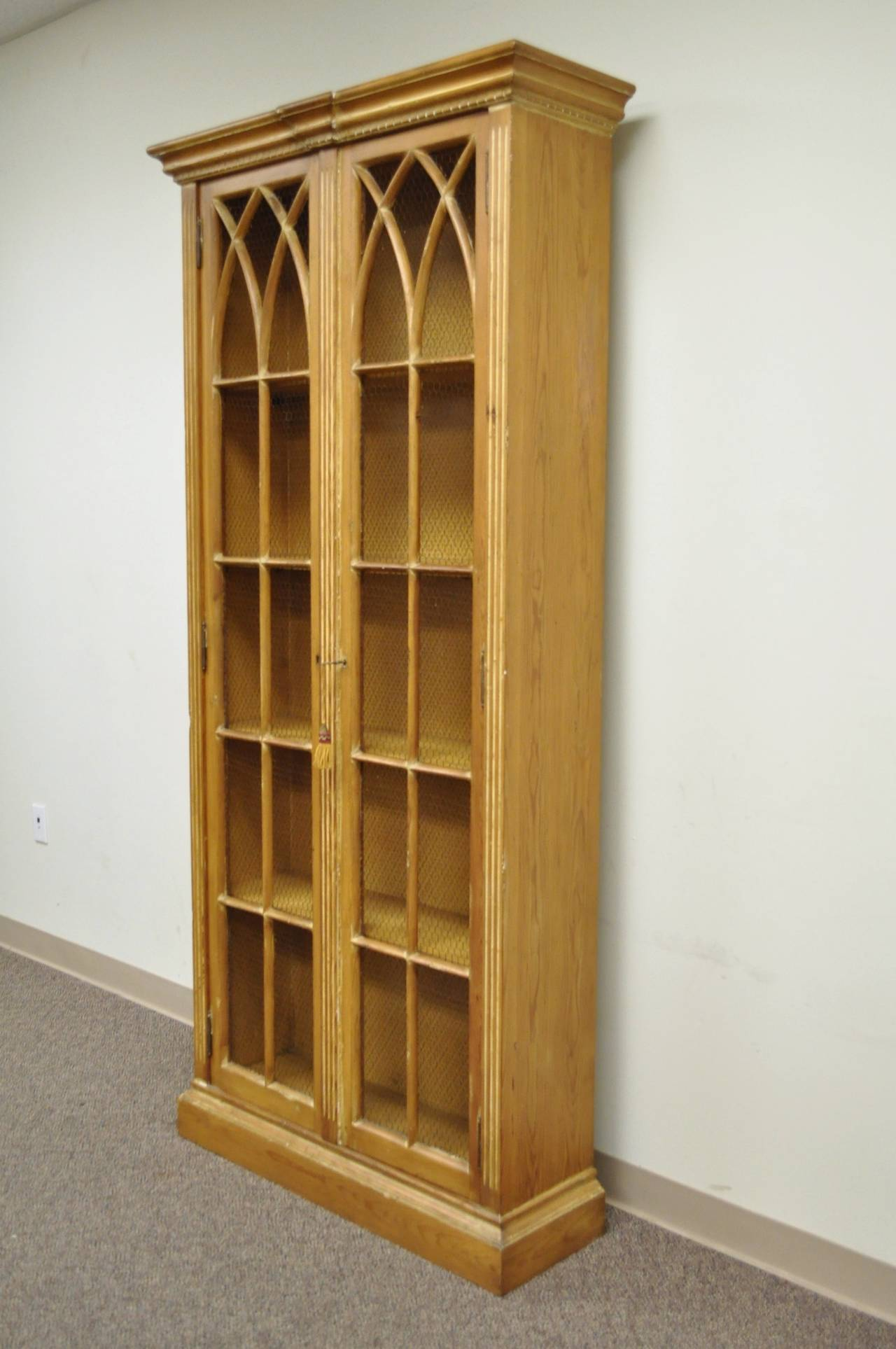 Stately Vintage Italian Bookcase In The Mission Or Gothic Taste This Item Features A Tall