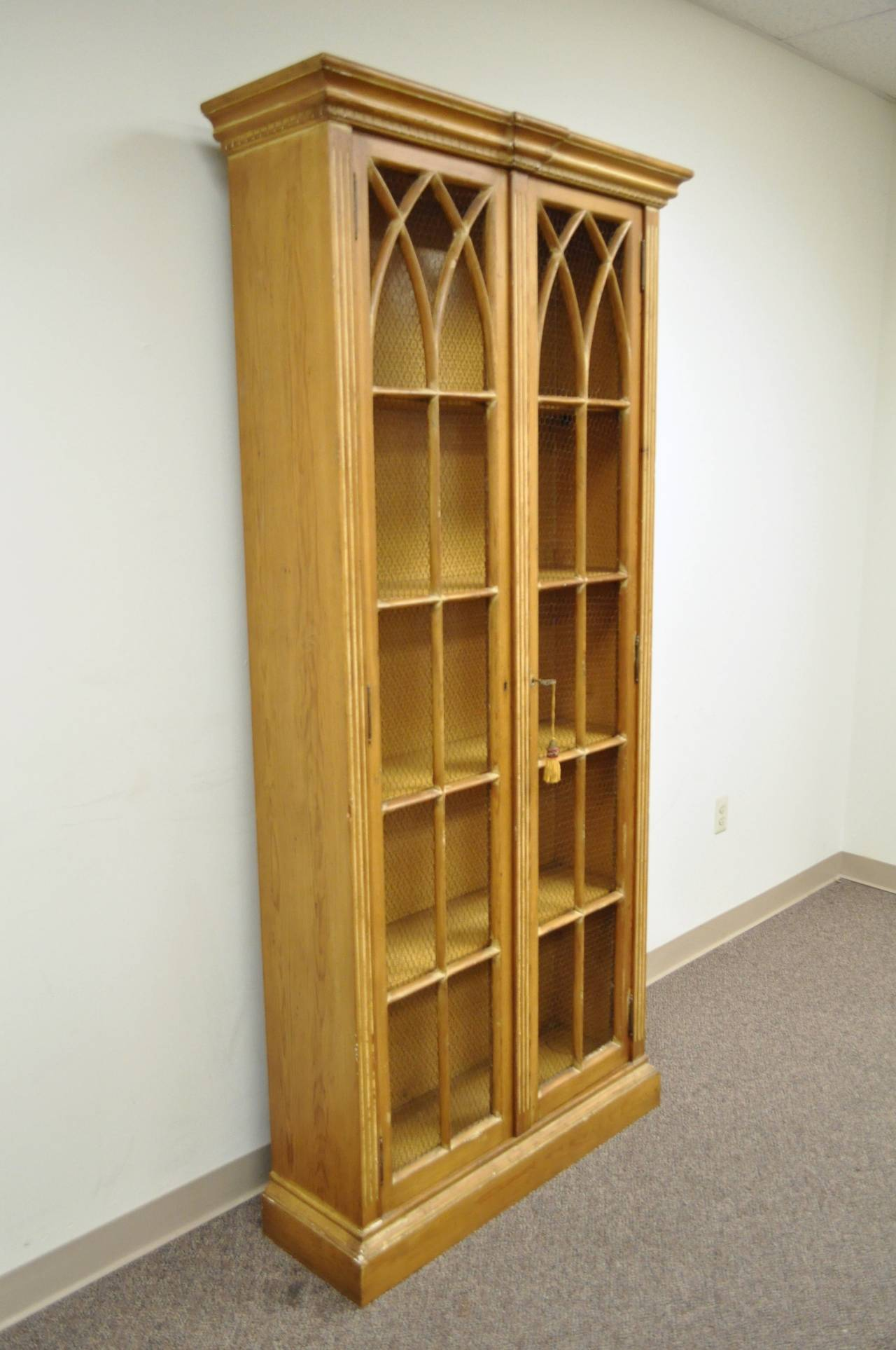 Antiqued And Distress Finished Italian Bookcase In The Mission Or Gothic Style At 1stdibs