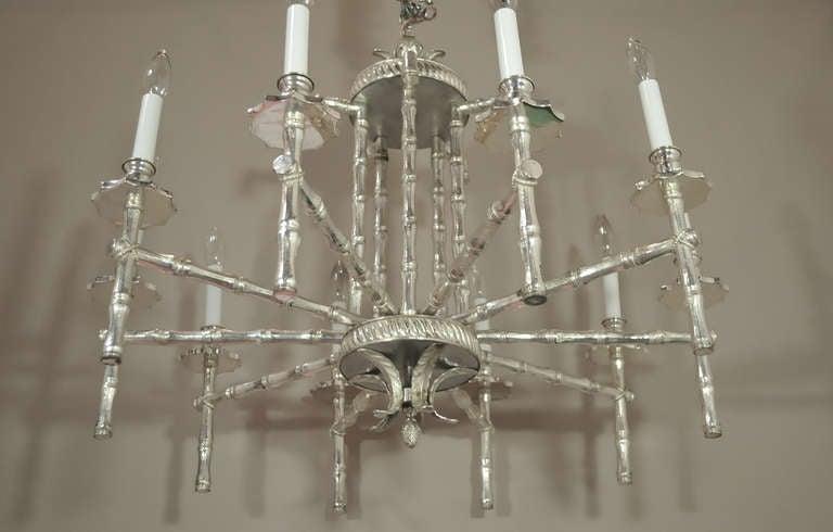 Hollywood Regency Faux Bamboo Silver Plated Pagoda