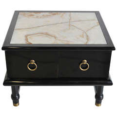 Mid-Century Modern Ebonized and Onyx Top Side Cabinet after Dorothy Draper