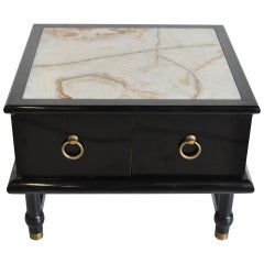 Mid Century Modern Onyx Top Black Side Table Cabinet after Dorothy Draper