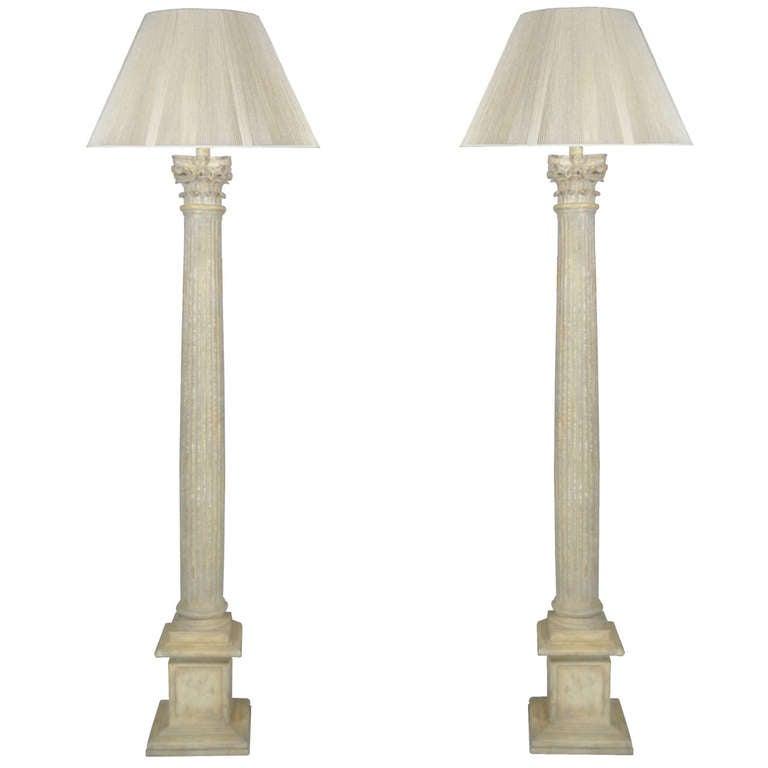 Pair Of Tall Carved Wood Corinthian Column Form Distress