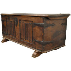 16th Century Large Dovetail Joined Gothic Coffer or Blanket Chest