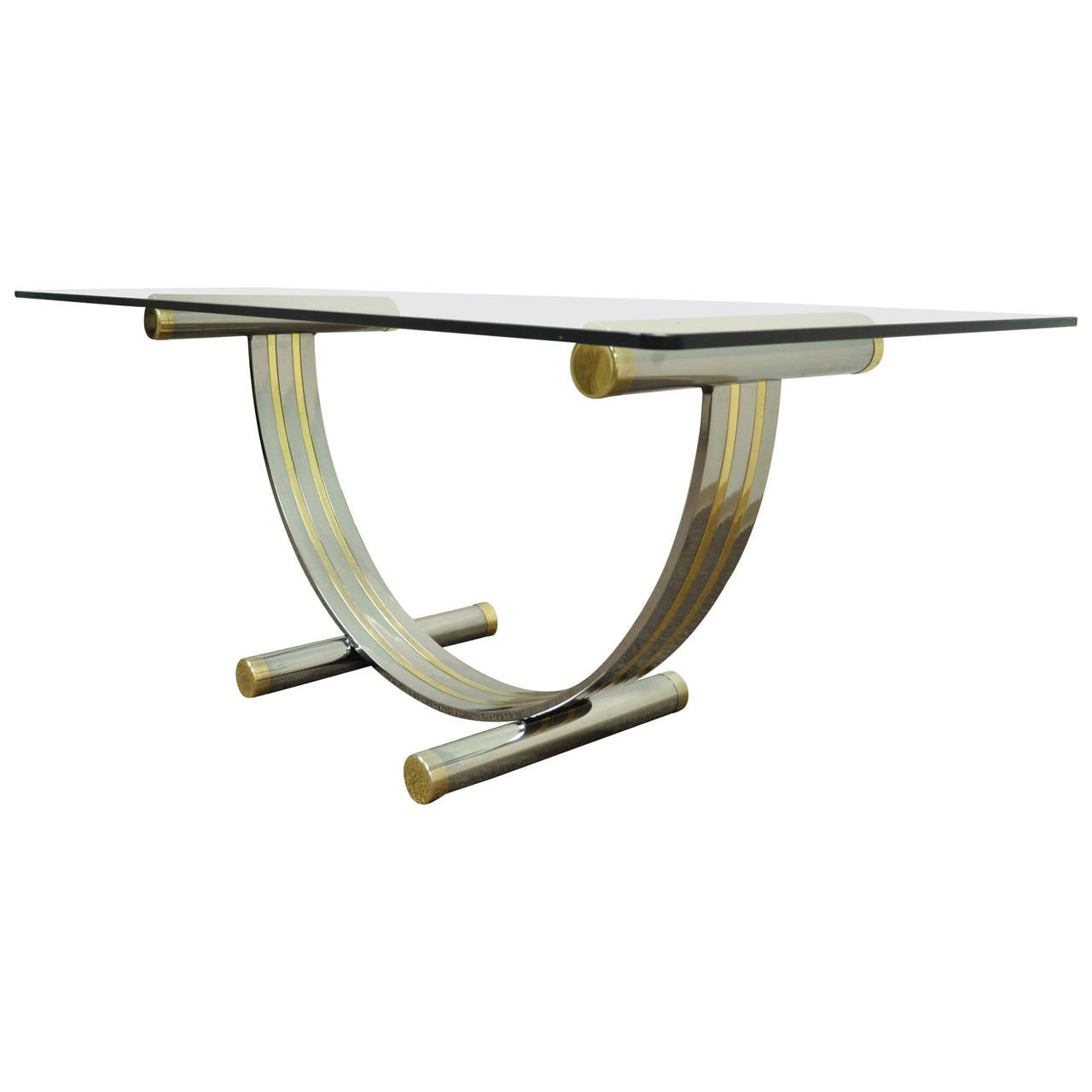 Mid Century Modern Romeo Rega Style Chrome Brass and Glass Arch Dining Table