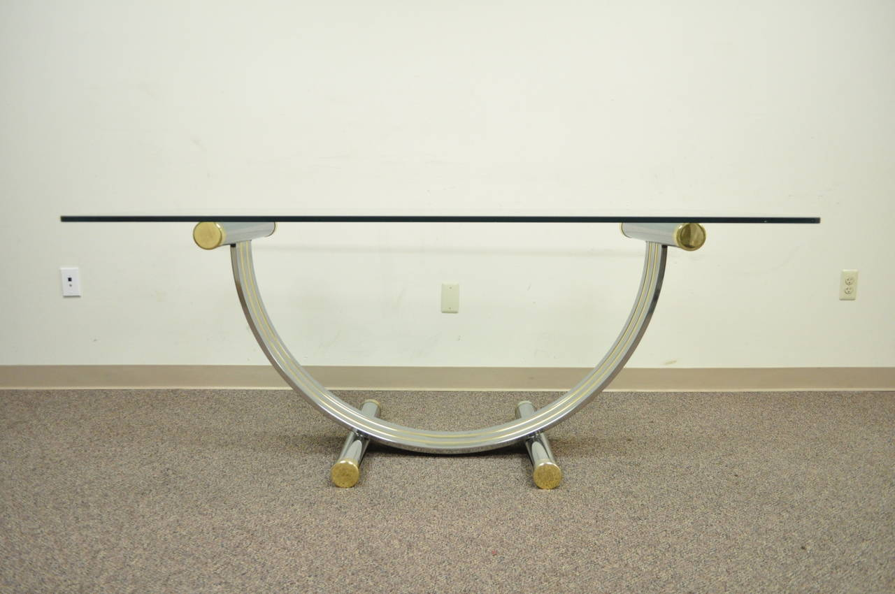 Mid century modern romeo rega chrome brass and glass for Really cool dining tables