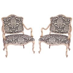 Pair of 1960s Italian Hollywood Regency Carved Wood Boudoir Lounge Armchairs