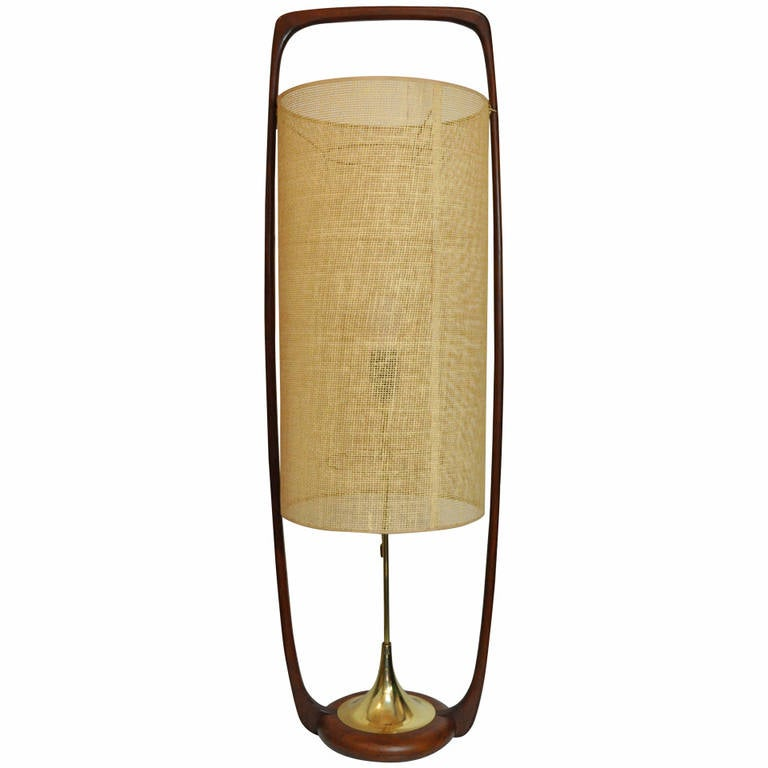 Large Mid-Century Danish Modern, Sculpted Teak and Brass Table Lamp by Modeline