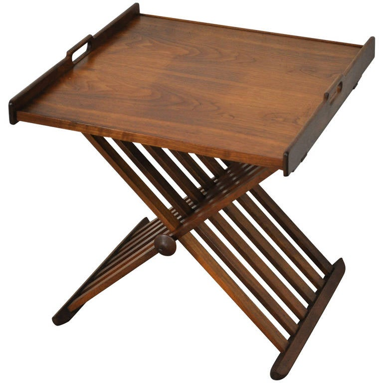 Drexel Campaign Style Walnut Folding Tray or Serving Table by Stewart  MacDougall 1 - Drexel Campaign Style Walnut Folding Tray Or Serving Table By