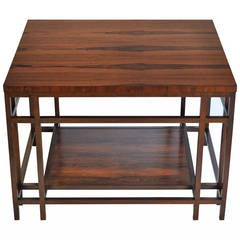 Rosewood and Walnut Side Table by Baker Furniture Far East Collection