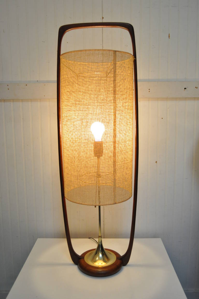 Very Unique And Large Mid Century Modern Sculpted Teak And Brass Table Lamp  With Original