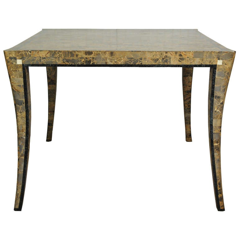 Maitland Smith Tessellated Stone Klismos Dining Game Table Neoclassical Sty