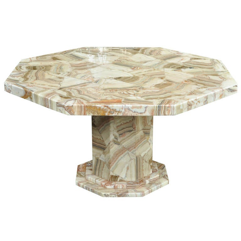 Mosaic Dining Room Table: Fine Mosaic Agate And Resin Pedestal Base Dining Or Center