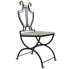 Lyre-Back Regency-Style Swan Head X-Form Wrought Iron and Brass Side Chair