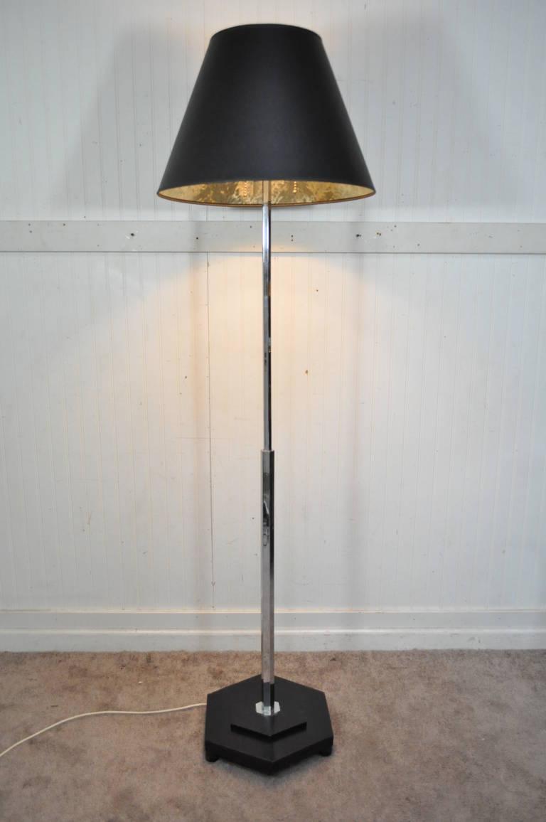 mid century modern modernist chrome and ebonized wood pole. Black Bedroom Furniture Sets. Home Design Ideas