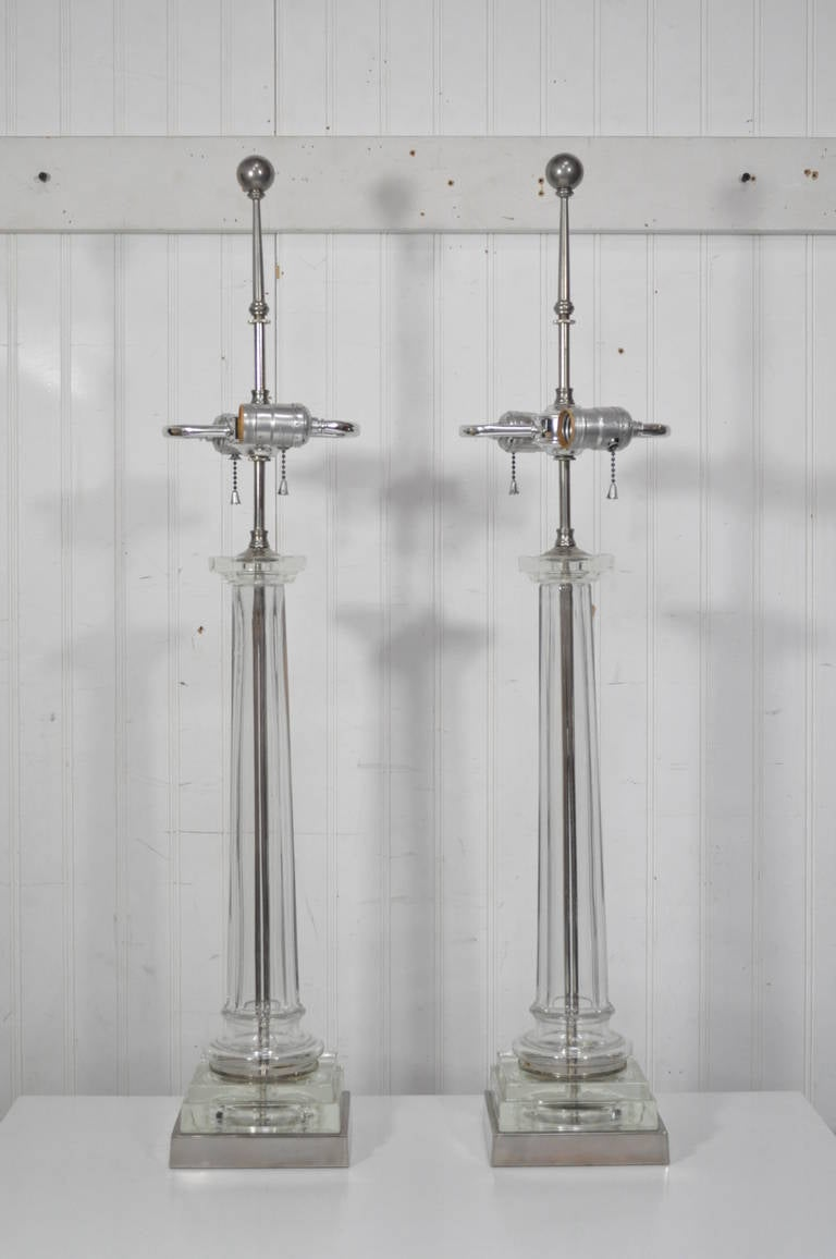 Pair of Elegant Table Lamps Attributed to Paul Hanson For Sale 2